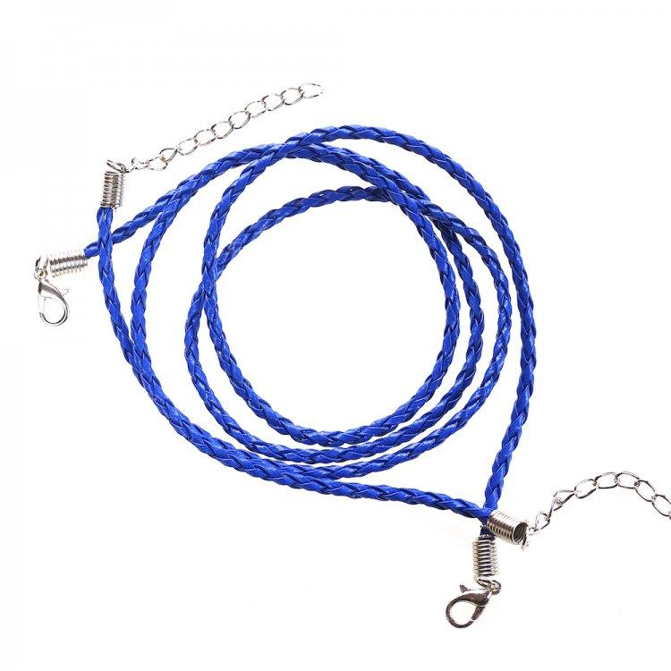 Шнур для кулона, кожзам, синий