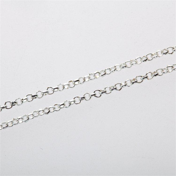 Цепь серебристая мелкая ролло 2х2х0,6 мм