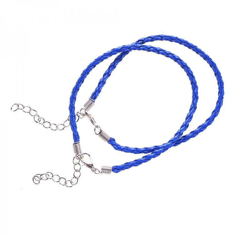 Шнур для браслета, кожзам, синий
