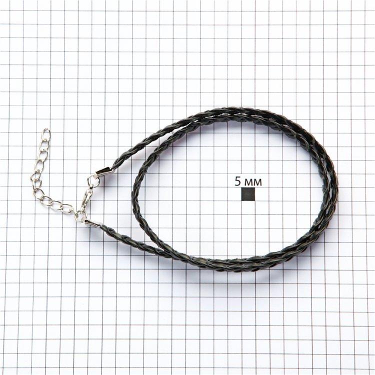 Готові основи - шнур плетений плоский зі шкірозамінника чорний