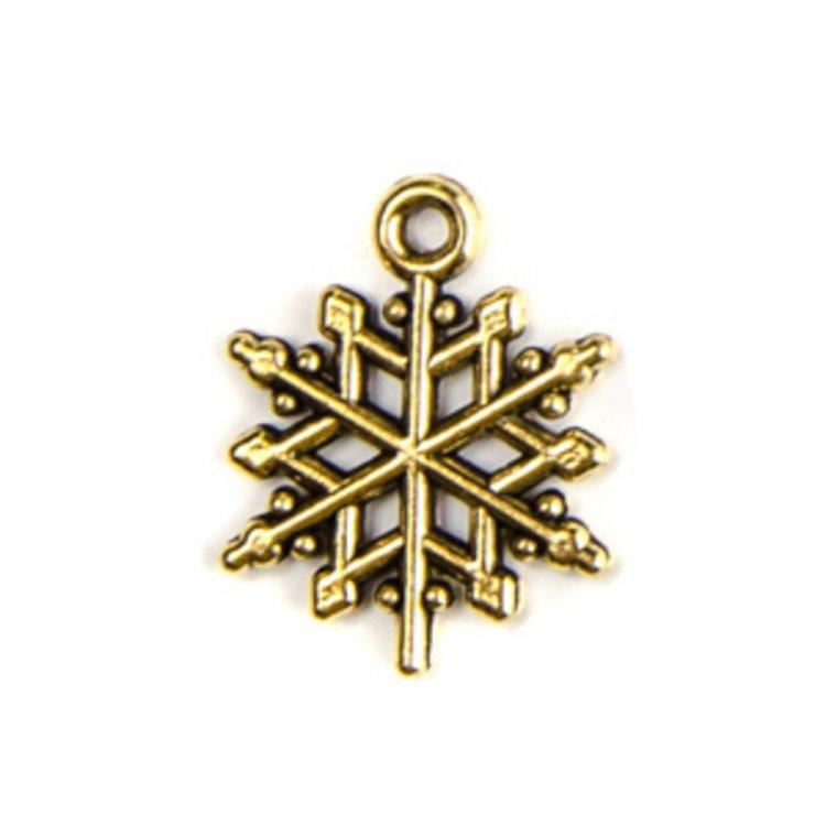 Снежинка. Металлические подвески золото