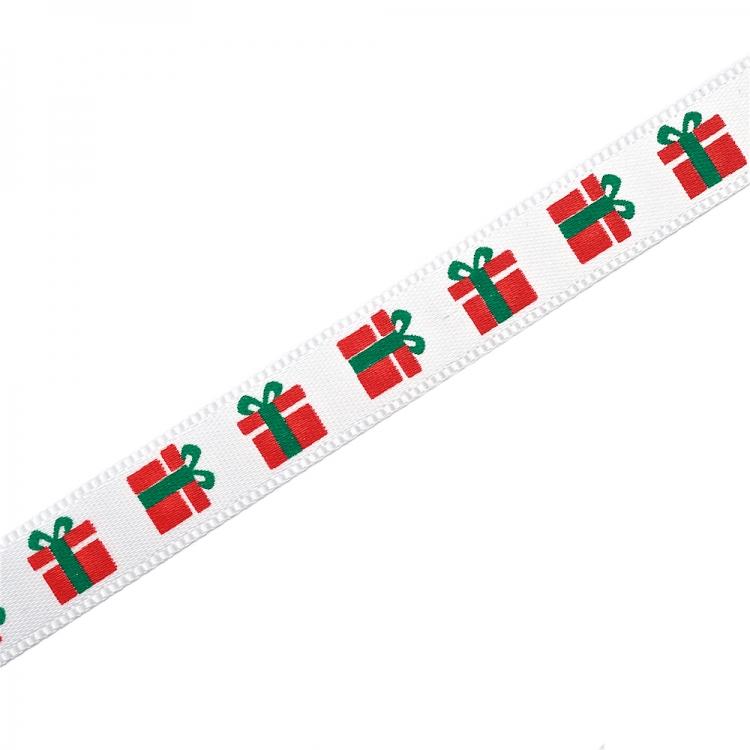 Стрічка атласна 9 мм з візерунком подарунків біла