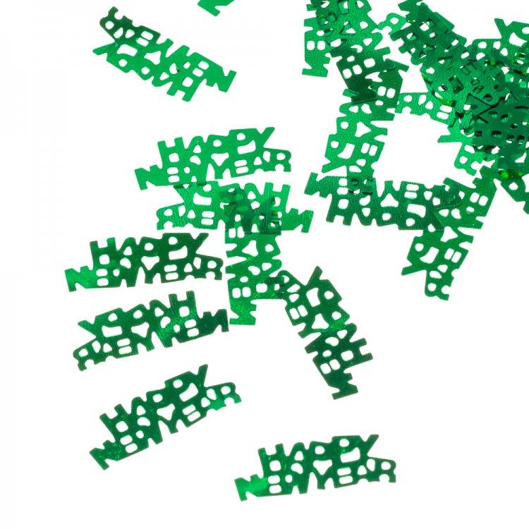 "Пайетки ""Happy new year"", зеленый, 26х10 мм"