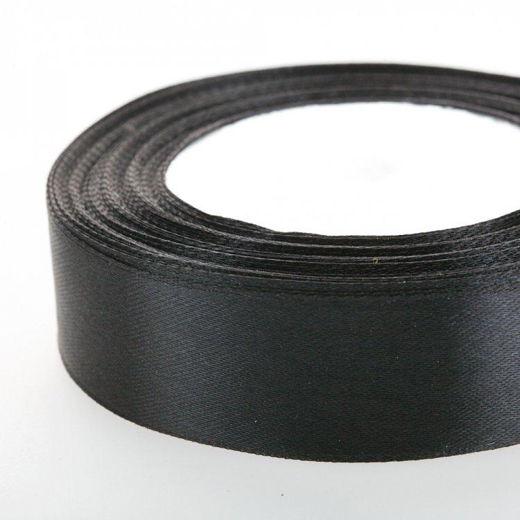 Стрічка атласна 25 мм чорна
