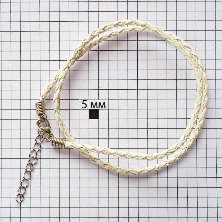 Плетёный шнур для кулона белый кожзам 3 мм