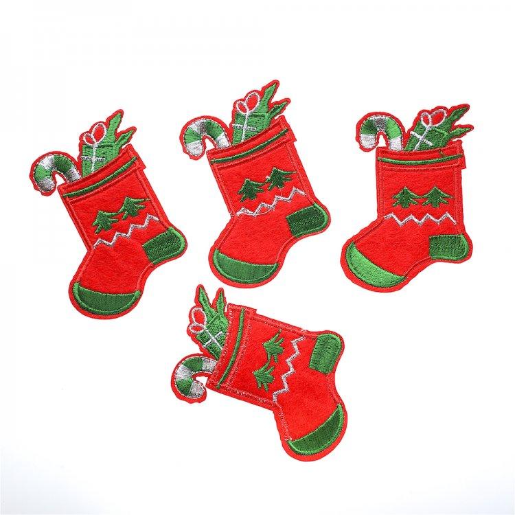 Тканевые нашивки носочек с подарками