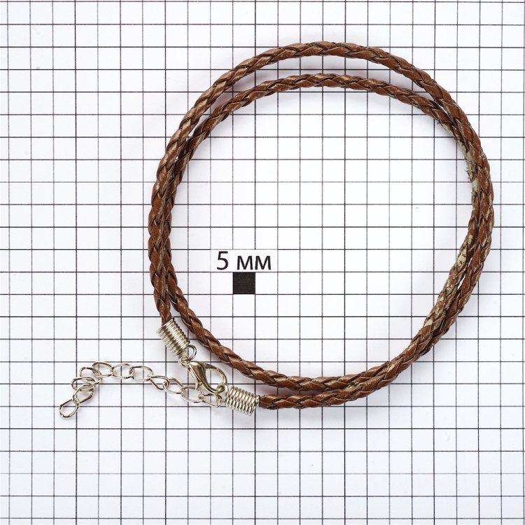 Основа для кулона коричневая кожзам 3 мм