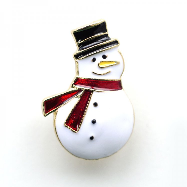 Значок пин Снеговик