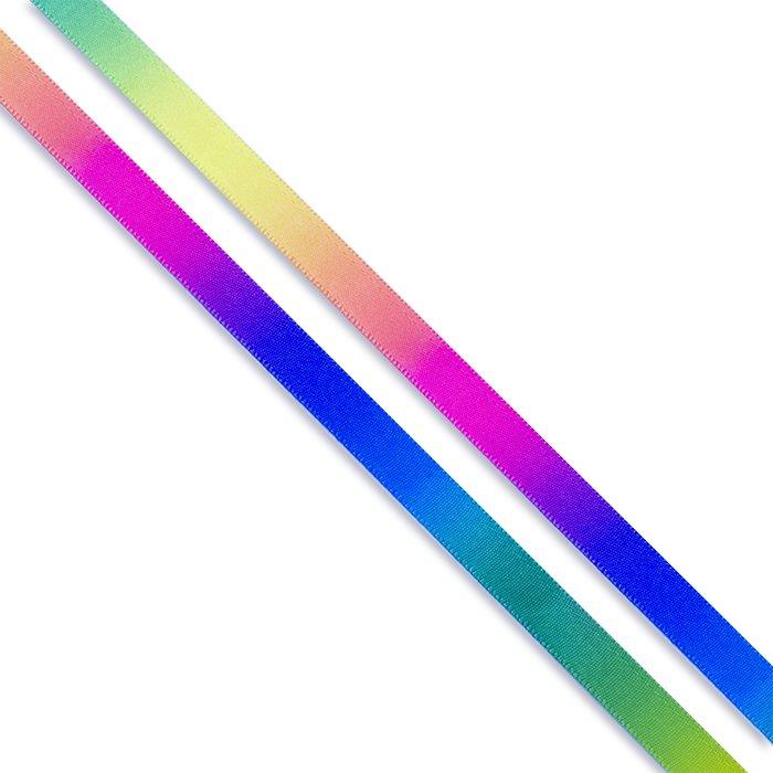 Стрічка атласна 10 мм без візерунка райдужна