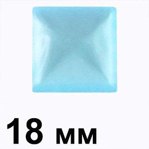 Пластиковые кабошоны 18 мм бирюзовый квадрат глаз
