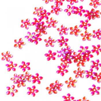 Пайетки малиновый радужный цветок, 9 мм