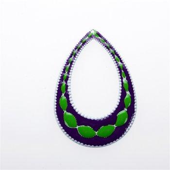 Кулон металлический фиолетовый зеленый