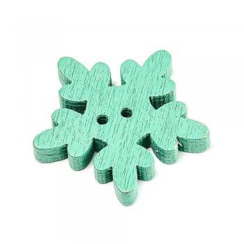 Снежинки зеленые пуговицы деревянные