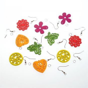 Сережки з дерев'яними підвісками, мікс кольорів та форм