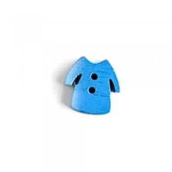 Платье, пуговица деревянная, синяя, 12х13 мм