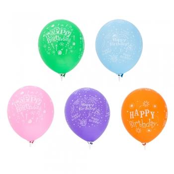 Латексна куля 30см Happy Birthday різнокольорова
