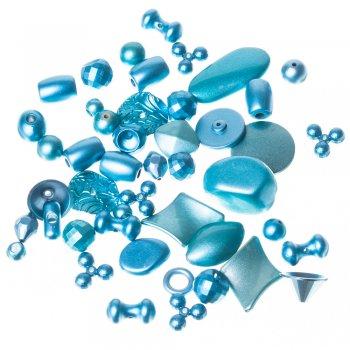 Пластик светорефлекторный. Бирюзово-голубой. Бусина 20 мм. круглая плоская с гранями .