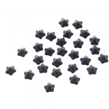 Чешские стеклянные бусины черный цветок 5-лепестковый 8х13 мм