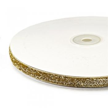 Лента бархатная 10 мм цвет золото с люрексом