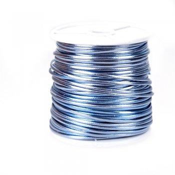 Шнур голубой глянцевый кожзам 1,5 мм