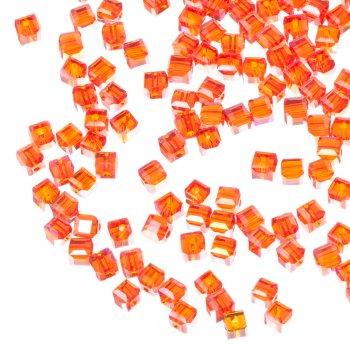 Бусина кубическая, красная, хрусталь, 4 мм