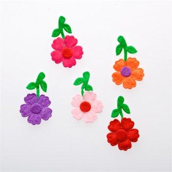 Текстильные дутые элементы цветок микс цветов