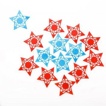 Войлочный декор Звезда, красная, голубая