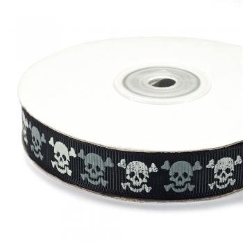 Лента репсовая 15 мм черная с Черепом