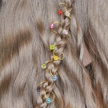 Пирсинг для волос Кристалл набор 10 шт
