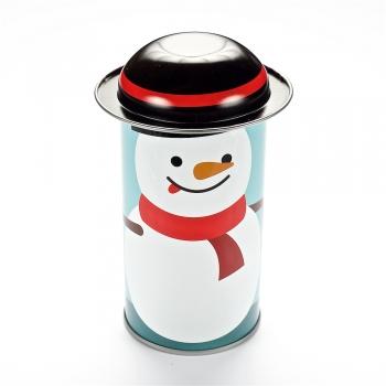 Коробочка жестяная 11,6х5,4 см снеговик с язычком черная шапочка