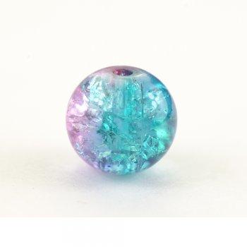 Намистина скляна з кракелюр 10 мм рожево бузково блакитна