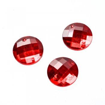Стразы стеклянные пришивные. Красный. Диаметр 18 мм.