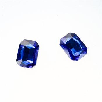 Стрази скляні вставні. Синій. Довжина 14 мм, ширина 10 мм.