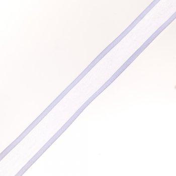 Стрічка з органзи з атласними краями 25 мм біла