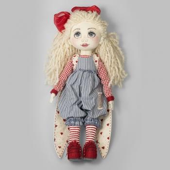 Текстильна лялька з червоним бантом і слоненям (ручна робота)