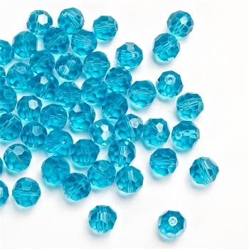 Хрустальная бусина круглая 10 мм голубая радужная