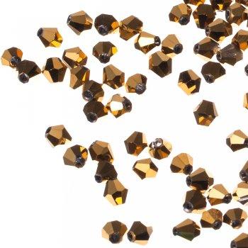 Бусина двуконическая, золотистая металлик, хрусталь, 6 мм