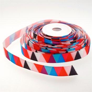 Лента репсовая 10 мм микс цветов с треугольным узором
