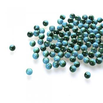 Намистина. Скло під камінь. Бірюзовий, зелений. Діаметр 8 мм.
