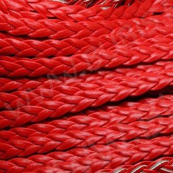 Шнур пласка кіска червоний шкірзамінник 7 мм