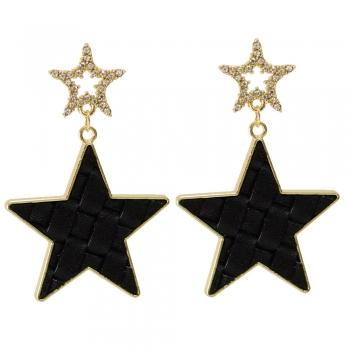 Серьги золотые висячие с черной звездой