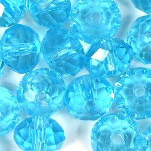 Бусина круглая сплюснутая голубая хрусталь 6 мм