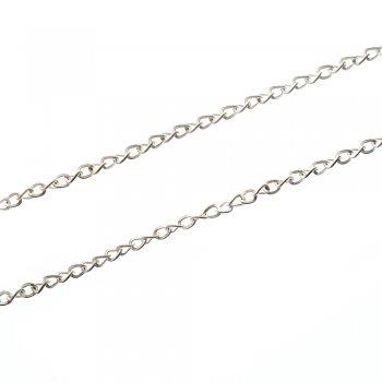 Цепь серебристая матовая мелкая панцирная 3х4х0,8 мм