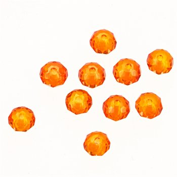 Хрустальная бусина рондель 6 мм оранжевая прозрачная
