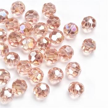 Кришталева намистина кругла 12 мм рожева прозора