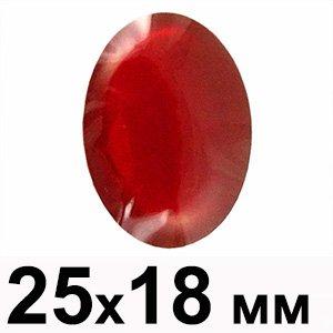 Пластиковые кабошоны темно-красный выпуклый овал