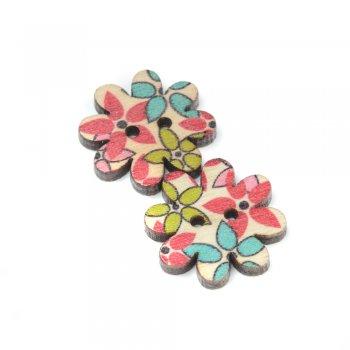 Пуговица деревянная маленький цветок