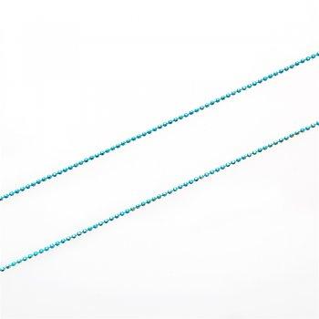 Ланцюг з цільними ланками гранований по екватору, бірюзовий