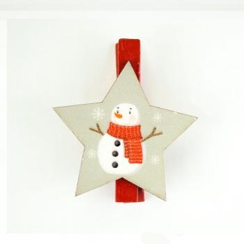 Прищіпка дерев'яна Сніговик