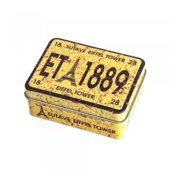 """Коробочка жестяная прямоугольная 8х6х3,2 см """"Eiffel Tower 1889"""""""